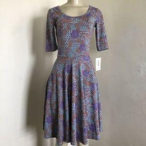 LuLaRoe XXS Nicole Dress Gray Purple Dotted Rose